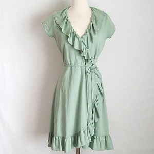 Matilda Jane Light as Air sage green wrap dress